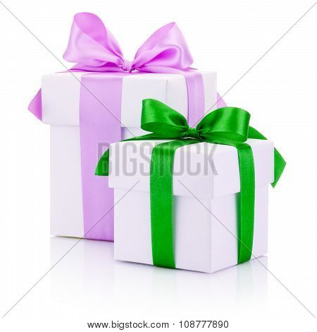 Two White Gift Boxs Tied Pink And Green Ribbons Bow Isolated On White Background