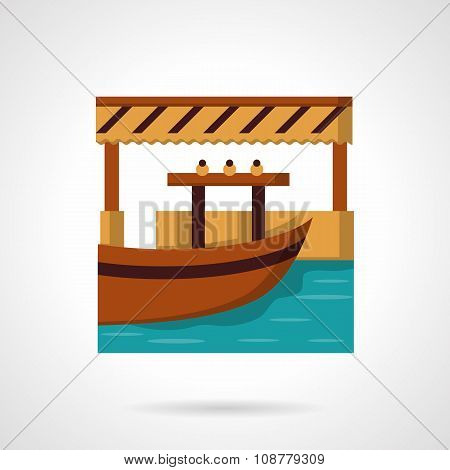 Wooden river dock with boat. Idea for water trade, fishing, outdoor leisure. Flat colorful vector icon. Single web design element for mobile app or website. poster