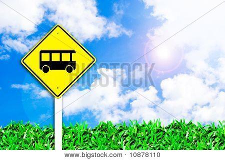 Bus Stop Sign On Beautiful Sky