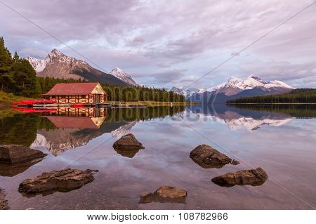 Maligne Lake And Boathouse At Sunset, Jasper National Park, Canada