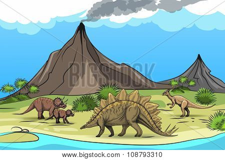 Prehistory with dinosaurs and volcano