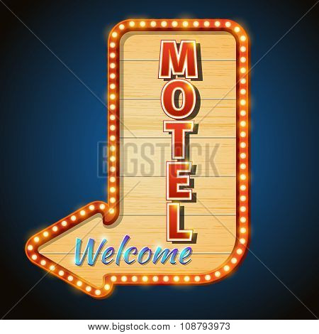 Neon vintage motel sign with light bulbs. Vector illustration