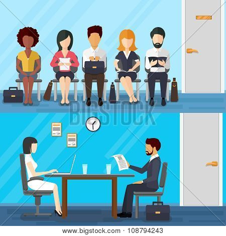 Business people waiting  job interview. Waiting businesswoman and businessman. Recruitment concept  flat design style. Vector illustration poster