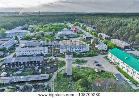 Bird eye view of housing estate in Vinzili. Russia