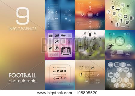 football infographic with unfocused background