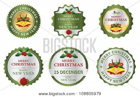 Christmas Labels Budges Logo Or Sticker