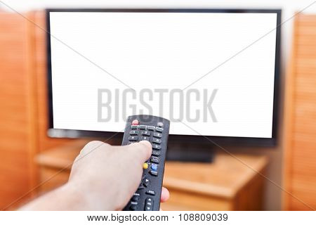 Hand Switches Tv Channels With Cut Out Screen