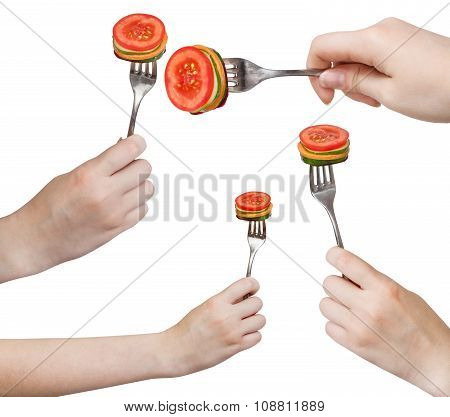Set Of Forks With Impaled Fresh Sliced Vegetables