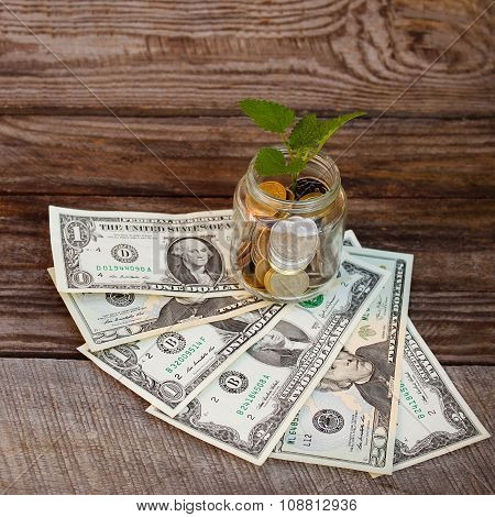 Green plant in glass jar with loose change (Russian rubles) and dollars on the old wooden background