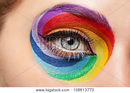 Close-up Eye With Fashion Art On Stahe Make Up