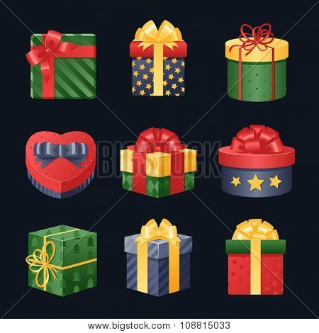 Colorful 3d gift boxes, bows and ribbons vector set. Gift boxes vector illustration. Vector Christmas gift box isolated. Christmas box isolated. Christmas, birthday gift box set. Holiday gift box