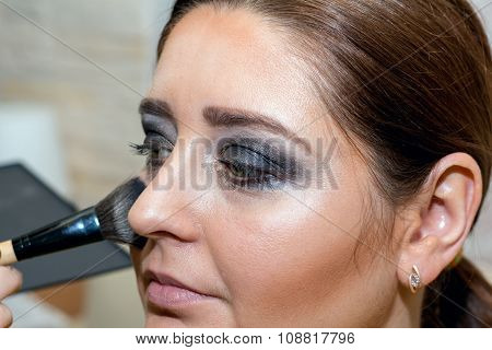 Beautiful Middle-aged Model, Which Is Applied Blush.