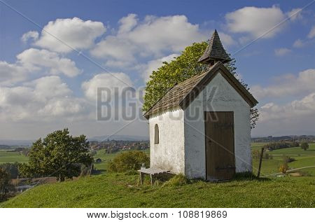 Pictorial Landscape With Little Chapel At The Hill, Bavaria