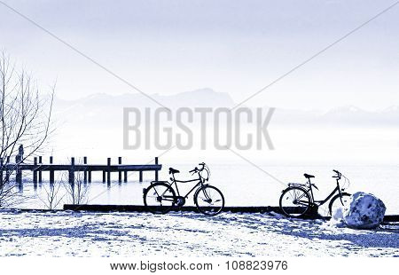 Bicycles At The Lake Shore, Tranquil Winter Scenery