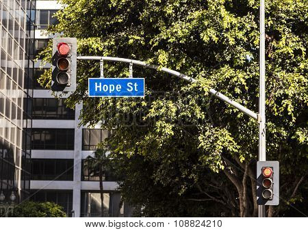 Street Sign Hope Street Downtown Los Angeles