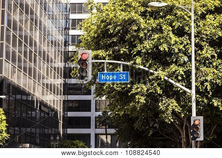 LOS ANGELES, USA - MAY 9, 2013: street sign Hope street downtown Los Angeles