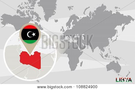 World Map With Magnified Libya