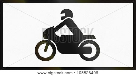 Norwegian Supplementary Road Sign - Sign Applies To Motorcycles