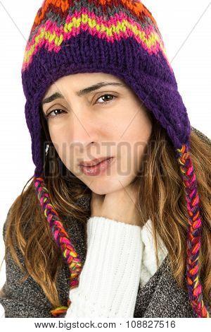 Close Up Of Woman Having Throat Ache