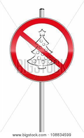 Christmas tree crossed out on a prohibition sign, as a symbol for xmas problems. Isolated vector illustration on white background. poster