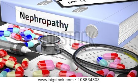 Illustration of doctor's desktop with different pills, capsules, statoscope, syringe,light blue folder with label 'Nephropathy'