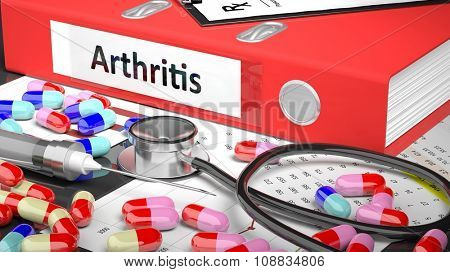 Illustration of doctor's desktop with different pills, capsules, statoscope, syringe, red folder with label 'Arthritis'