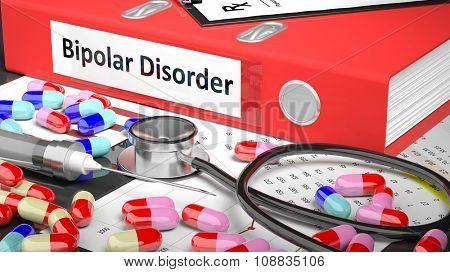 Illustration of doctor's desktop with different pills, capsules, statoscope, syringe, red folder with label 'Bipolar Disorder'