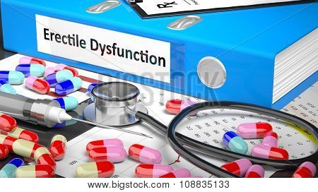 Illustration of doctor's desktop with different pills, capsules, statoscope, syringe, blue folder with label 'Erectile Dysfunction'