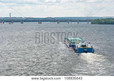 Barge floats on a Dnepr river
