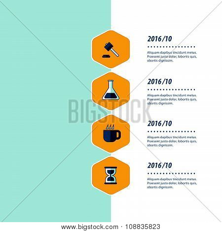 Timeline, Infographic Template Design Bule, Yellow Color