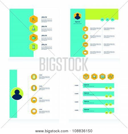 Set Of Timeline Vectors Design   Bule, Yellow And Green Color