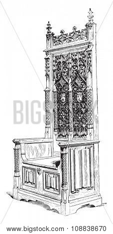 Seat of honor of the fifteenth century, vintage engraved illustration. Industrial encyclopedia E.-O. Lami - 1875.