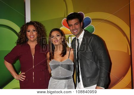 LOS ANGELES - NOV 17:  Eva Longoria, Jencarlos Canela, Diana Maria Riva at the Press Junket For NBC's
