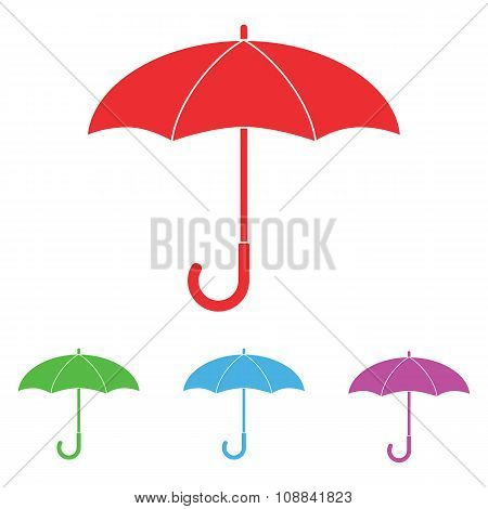Set colorful umbrella icon.