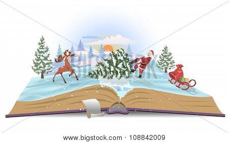 Open book about Santa and christmas tree