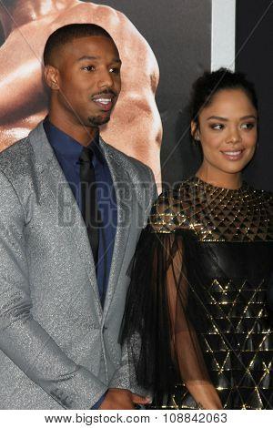 LOS ANGELES - NOV 19:  Michael B. Jordan, Tessa Thompson at the