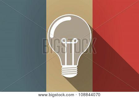 Long Shadow Flag Of France Vector Icon With A Light Bulb
