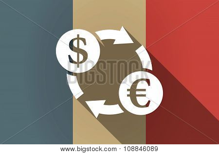 Long Shadow Flag Of France Vector Icon With A Dollar Euro Exchange Sign