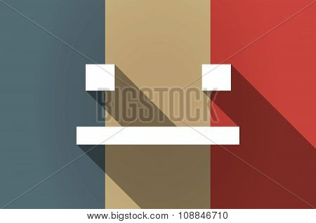 Long Shadow Flag Of France Vector Icon With A Emotionless Text Face