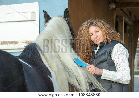 Woman Combing The Mane Of The Horse