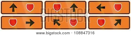 A Collection Of New Zealand Road Signs - Detour Directions With Badge Symbol
