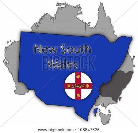 A New South Wales map and flag isolated on a white background poster