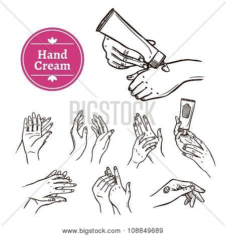 Applying hand cream black  icons set