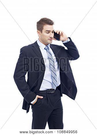 Caucasian Businessman Talking On Cellphone