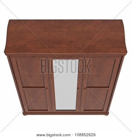 Cabinet with doors closed, top view