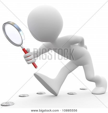 Man with magnifying glass looking for coins