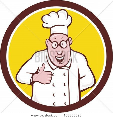Chef Cook Thumbs Up Circle Cartoon