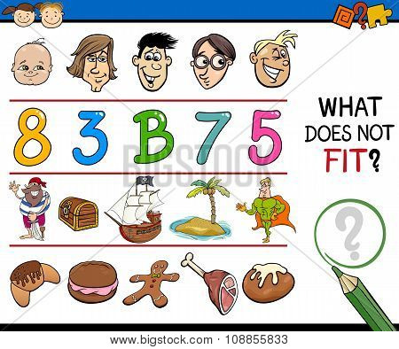 Cartoon Illustration of Finding Wrong Item in the Row Educational Task for Preschoolers poster