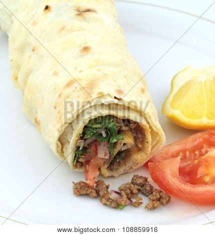 Traditional turkish kebap tantuni roll with lavash bread