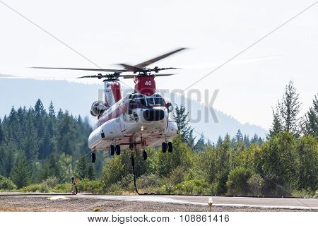 Chinook Helicopter Lifting Off